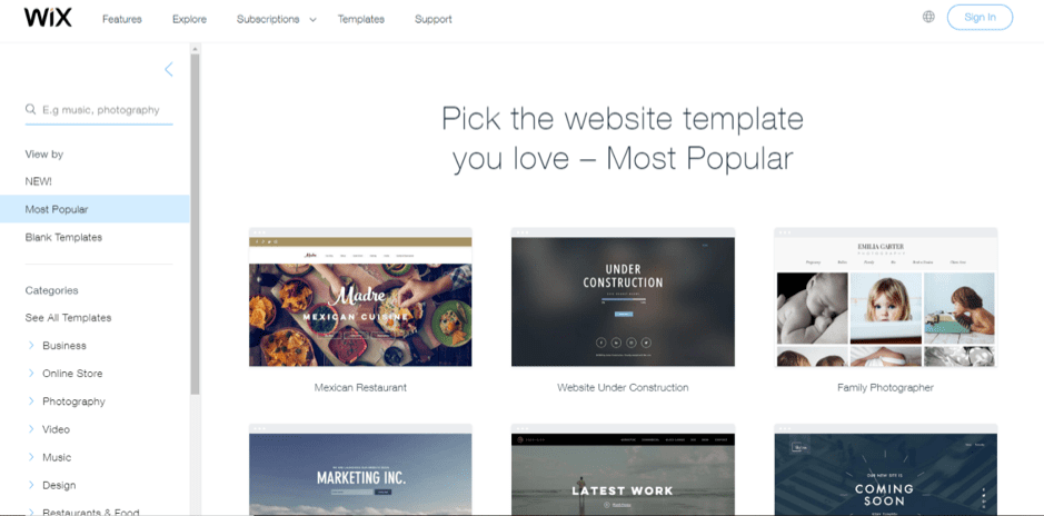 Wix review- wix template gallery