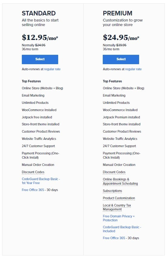 Online-store Pricing of Bluehost